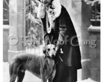 Photo Note Card  French Starlet with Greyhound, c.1920 Photo Note Card