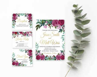Floral Wedding Invitation Template- Wedding Invitation- Printable Wedding Invitation- Vintage Wedding Invitations- Rustic Wedding Suite-