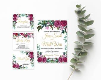 Floral Wedding Invitation Template- Wedding Invitation- Printable Wedding Invitation- Vintage Wedding Invitations- Rustic Wedding Suite-