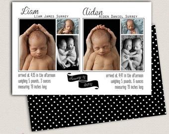 Twin Birth Announcement/Twin Announcement/Photo Twin Birth Announcement/Birth Announcement and Background/Neutral/Print yourself design
