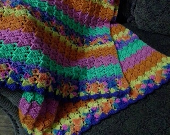 Bright Rainbow Colored Striped Blanket