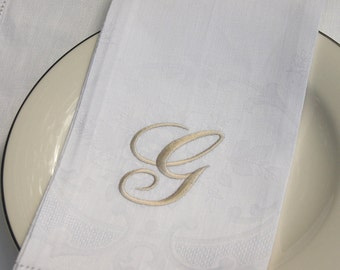 Embroidered Hand Towel, Monogrammed Towel, Linen Guest Towel, 100 % linen Towel, Washable