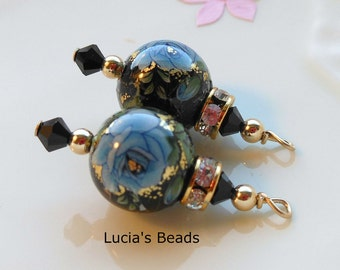 NEW Gorgeous Pair of Blue Rose on Black Japanese Tensha Bead Dangles