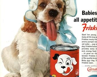 "1960s Friskies Dog Food ""Baby Dog"" vintage magazine ad  home decor wall art"