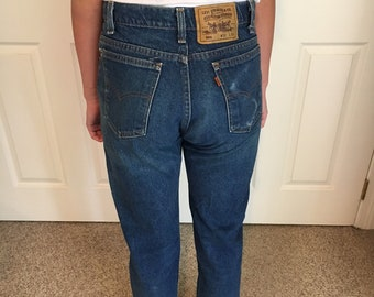 Vintage Levis 505 Orange Tag Blue Denim High Waisted Jean size 32x32/Vtg Levis 501 Denim Jeans/Levi Mom Jeans