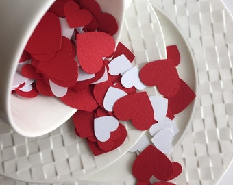 Valentines Day Hearts Table Confetti 300 pieces Valentines Confetti Red and White Table Confetti Party Confetti Confetti Shapes Die Cut