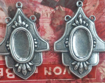 8  X 15mm Brass Bezels in Ornate Frame, Three Hoops, Sterling Silver Finish, Bezels Made in the USA, Brass Stampings