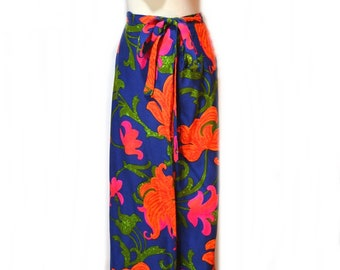Vintage Maxi Skirt 70s Wrap Skirt Flower Power Tropical Skirt