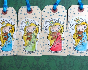 Angel gift tags, set of 7, Hand Stamped Christmas Angel Tags, Handmade Christmas tags, handmade xmas tags