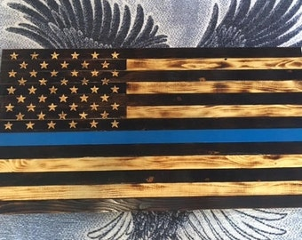 Thin Blue Line Charred Wood American Flag
