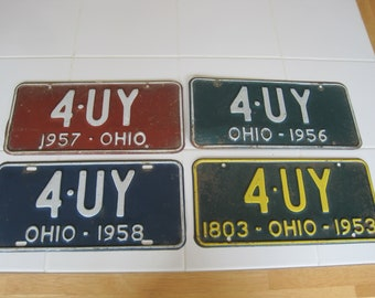 Your Choice! Ohio License Plate 1950's 4 UY Great Condition!