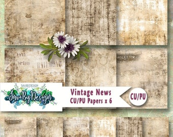 CU Commercial Use Background Papers set of 6 for Digital Scrapbooking or Craft projects VINTAGE NEWS Papers, Designer Stock Papers