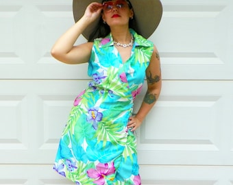 1990s Vintage Tropical Floral Wrap Dress with Collar V Neck Mini Wrap Dress Lime Green Turquoise Purple Floral Hibiscus Dress Size Medium