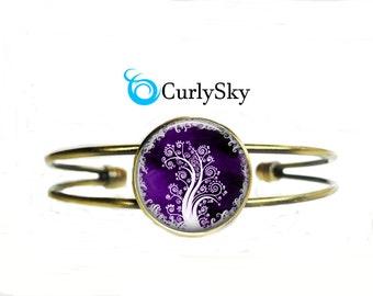Purple Bracelet Purple Tree Bracelet Purple Tree Bangle Initial Bracelet Purple Tree Gift Spring tree bracelet Purple tree bangle jewelry