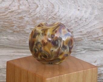 Handmade Glass Lampwork Lentil Focal Bead - Caramel Fudge