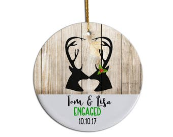 Engagement Ornament, Personalized Engaged Ornament, Anniversary Ornament, Deer Ornament, Custom Ornament, Just Engaged Ornament, Gift