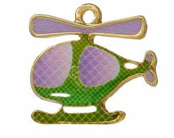 x 1 pendant gold tone enamel green and purple helicopter.