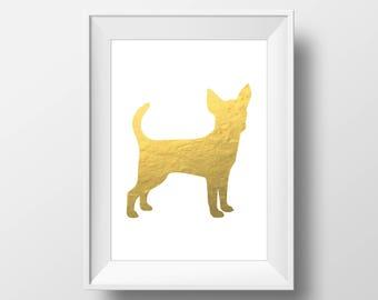 Gold Foil Chihuahua Print, Chihuahua Print, Chihuahua art, Dog decor, Dog lover gift, Chihuahua Wall Art