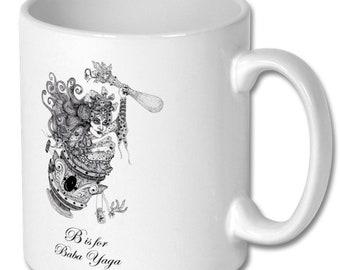 Baba Yaga mug/ Witches brew mug/ B is for baba yaga mug /Witches alphabet mug/witch mug