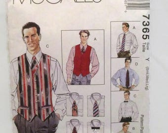 McCalls 7365 Mens Lined Vest Shirt Tie in Two Lengths and Bow Tie Small Med Large UNCUT