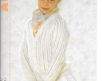UK original knitting pattern by Patons for a girls cardigan using double knit wool.  To fit sizes 22 - 28 ins / 56 - 71 cms