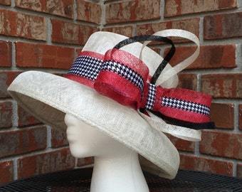 Houndstooth, Grey and Red Sinamay Hat