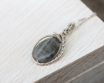 Silver and Faceted Labrodite Pendant with Wire wrapped detail.  This Silver Grey Pendant Necklace is dainty and fun with a boho vibe!