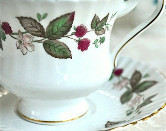 Royal Standard Fluted Berries Teacup and Saucer Fine Bone China England