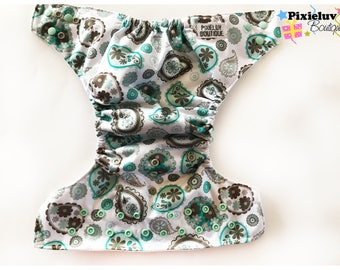 SALE! PaisleyTurquoise, Silver and Brown One Size Pocket Diaper (Cloth Diaper)
