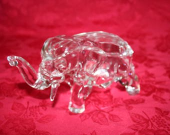 Clear Glass Elephant with Lid