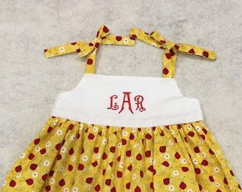 LadyBug Monogrammed Toddler's Girl's Pullover Dress Custom Made Handmade