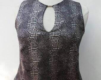 Vintage 90s 00s Cut Out Crop Top - Size 12 14 - Silver Black Foil Snakeskin