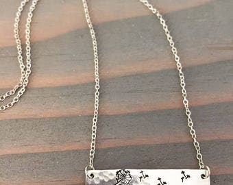 Rustic Hand Stamped Dandelion on Silver Aluminum Bar Necklace