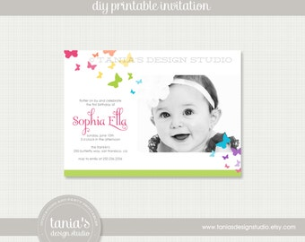 Butterfly Kisses Brights Printable Birthday Invitation by tania's design studio