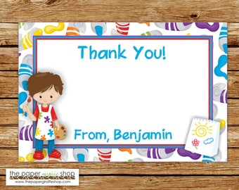 Art Party Thank You Card | Art Birthday Party Thank You | Crafting Party Thank You Card | Painting Party Thank You Card
