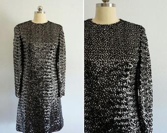1960s Suzy Perette sequin dress   vintage 60s black dress   vintage 60s party dress small