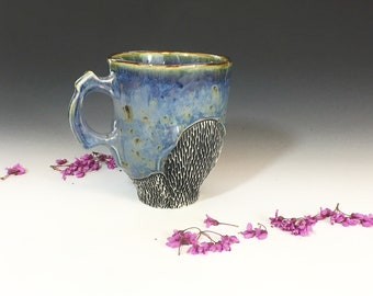Tall Coffee Mug in Blue Iron Spot Glazes, Hand Built Porcelain Coffee Cup with Handle. 4.75 in tall, 16 oz. Food Safe