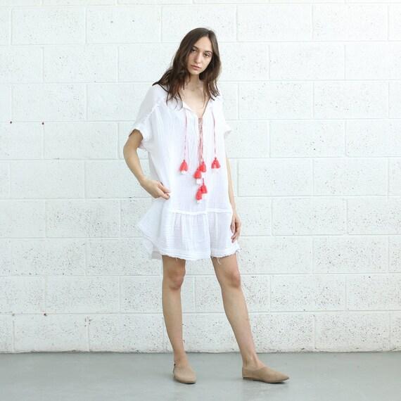TASSEL Trim Dress Neck dress Pon Dress Pon Tassel Dress V boho t8tXqwU0