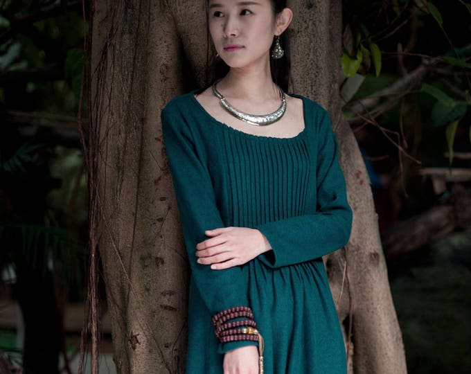 ON SALE/Size38/Ready to ship/Wool Dress - Dress Fall / Winter - Long dress classic - Long sleeves dress - Round neck
