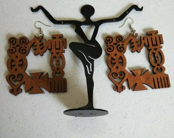 Brown Adinkra square African Wooden Earrings Wholesale/ Earrings/ Hand Made Earrings/Women's Earrings/ Afrocentric Earrings
