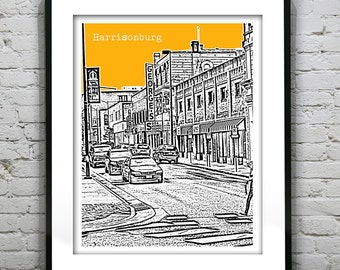 Harrisonburg Virginia Skyline Poster Art Print VA Version 2