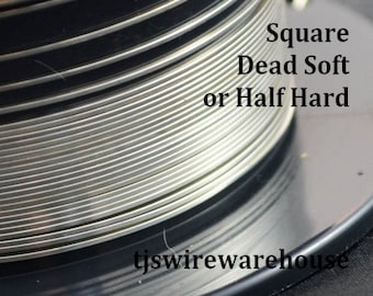 1/10 Silver Filled Wire, 20g to 22g, Square, Dead Soft, Half Hard, Length Choice, 925, Wholesale