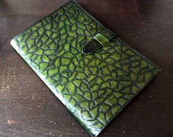 Hand tooled and hand painted leather cover - Tablet cover - hand tooled leather cover for iPad mini - exclusive gift for ages