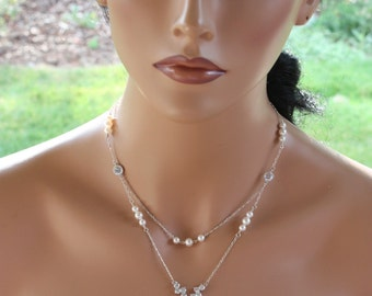 DOUBLE STRANDED VINTAGE Back Drop Necklace Chain Design with Pearl & Rhinestone Tear Drop Pendant, Rhinestone Clasp, Cream or White Pearl