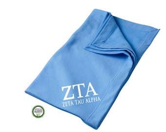 Zeta Tau Alpha Blanket, Sorority Throw Blanket, Zeta