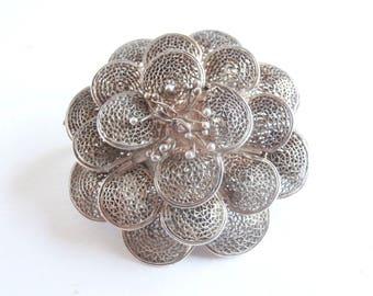 Silver Brooch - Silver Filigree - Filigree Brooch - Flower Brooch - Vintage Jewellery