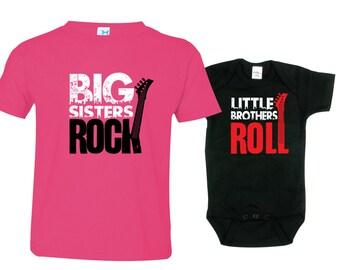 Big Sister Little Brother Shirts set of 2, Sibling T-shirt or Creeper, Big Sisters Rock, Little Brothers Roll, RCKSib