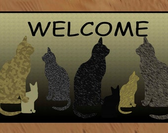 Cats Welcome  non-skid  indoor / outdoor dppr  floor mat