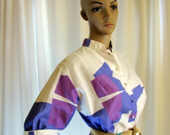 1960's Catherine Ogust Modern Shift Dress, Medium, Cotton, Purple, Turquoise, White, 1970's, Catherine Ogust, Shift, Penthouse Gallery