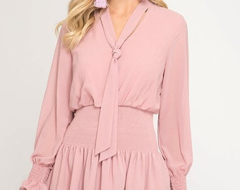 Dusty Rose Ruffle Dress